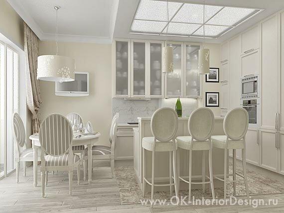 Бело-бежевая кухня-столовая
