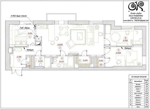 Финальный вариант перепланировки квартиры
