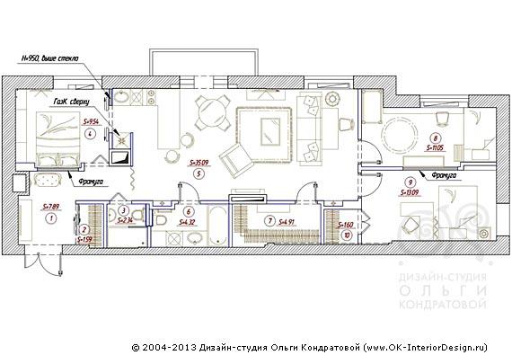 Вариант планировочного решения квартиры