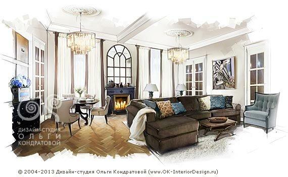 Дизайн гостиной в сталинской высотке