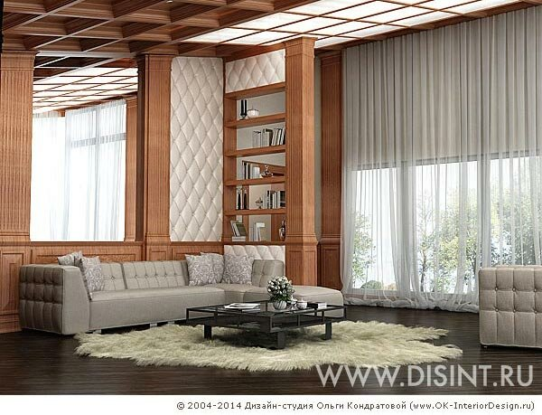 Дизайн-проект гостиной-библиотеки