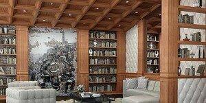 Зимний интерьер гостиной-библиотеки в загородном доме