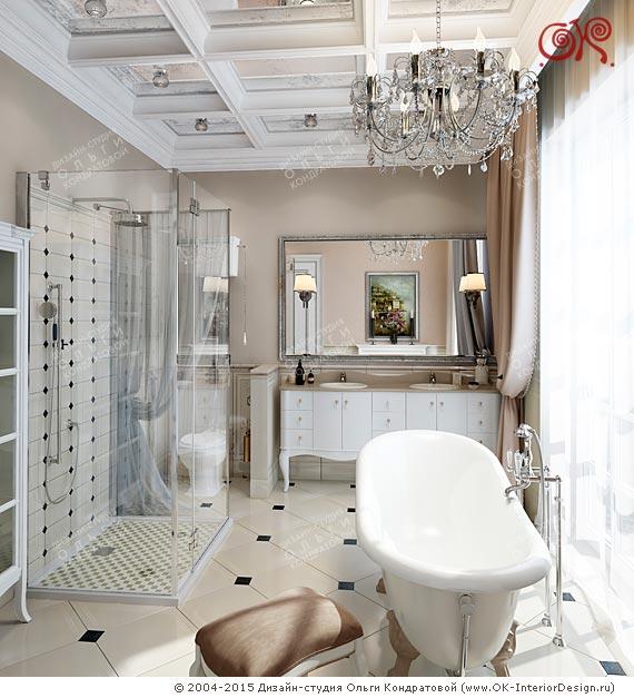 Дизайн белой ванной в классическом стиле