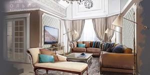 Дизайн-проект интертьера гостиной в доме
