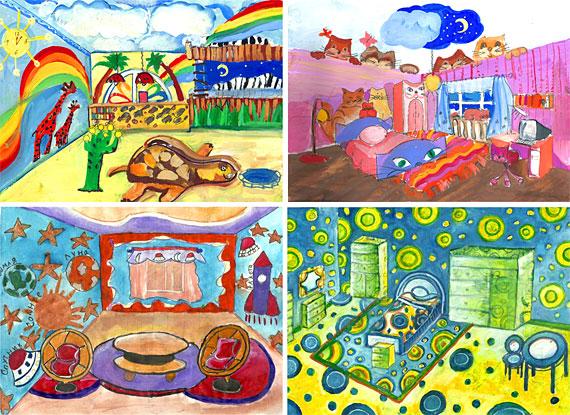 Коллаж детские рисунки