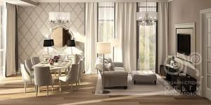 Дизайн гостиной-столовой в загородном доме