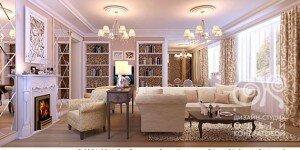 Дизайн гостиной с камином в кофейных тонах