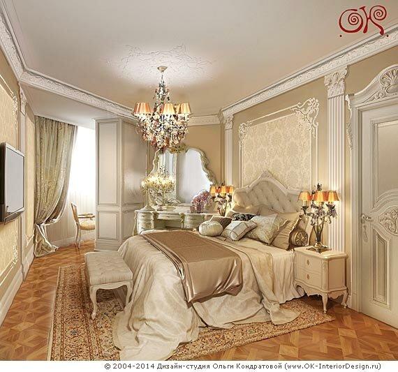Золотистая спальня во французском стиле