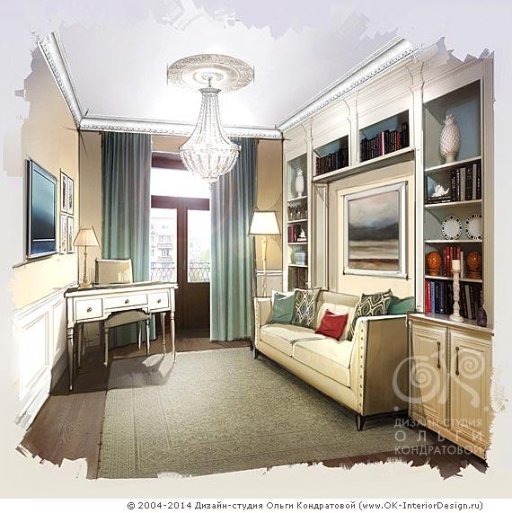 Кабинет в квартире в сталинском доме
