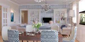 Дизайн-проект голубой гостиной в морском стиле