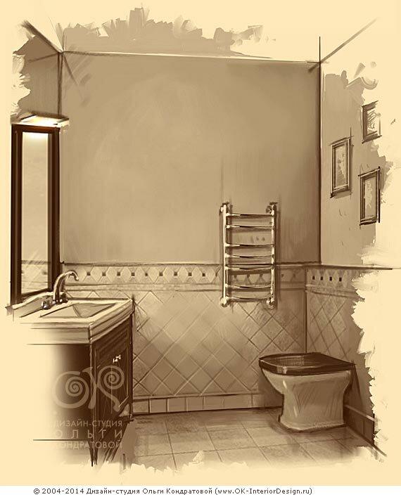Раковина и унитаз в винтажной ванной комнате