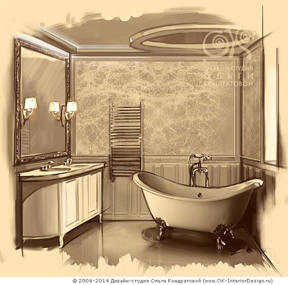 Винтажный интерьер ванной от современных дизайнеров