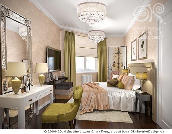 Персиково-гороховая спальня