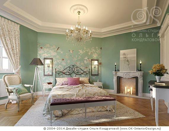 Дизайн бирюзовой весенней спальни