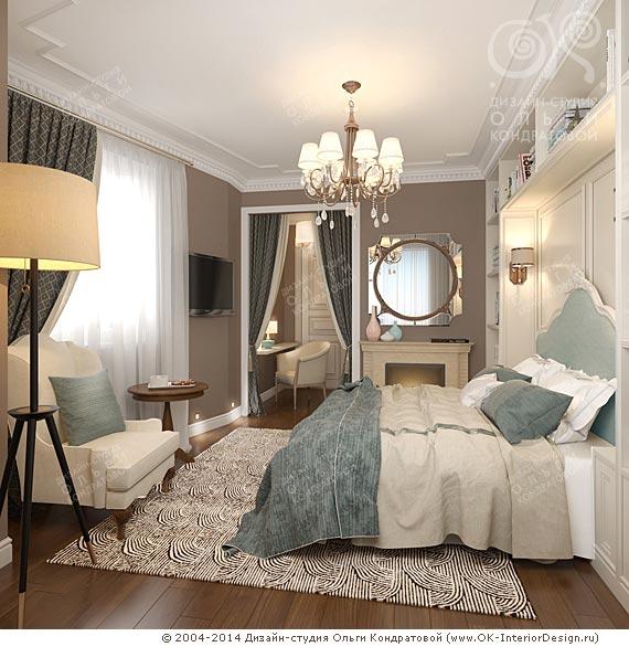 Дизайн маленькой спальни в стиле ар-деко