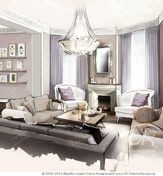Дизайн диванной зоны с камином