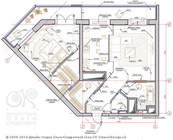 1-й вариант планировочного решения квартиры свободной планировки