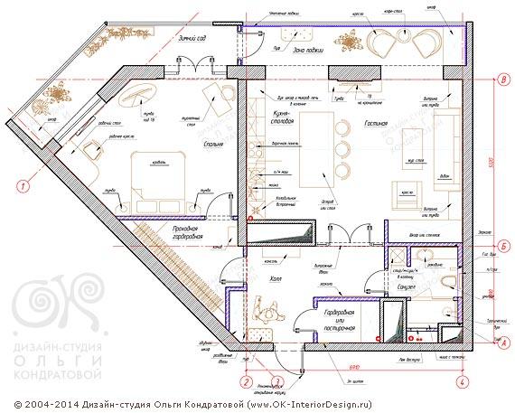 2-й вариант планировочного решения квартиры свободной планировки