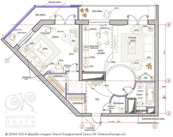 3-й вариант планировочного решения квартиры свободной планировки