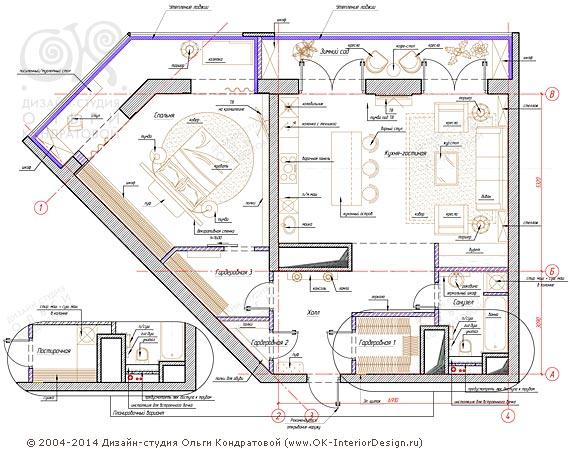 4-й вариант планировочного решения квартиры свободной планировки