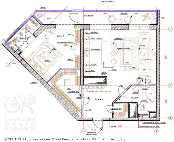5-й вариант планировочного решения квартиры свободной планировки