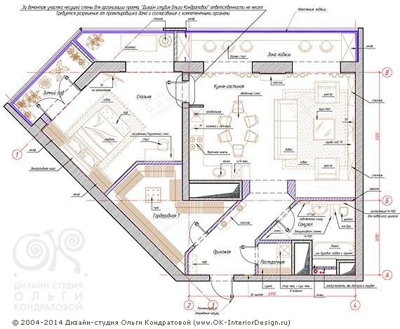 6-й вариант планировочного решения квартиры свободной планировки