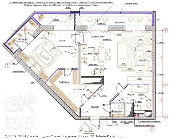 7-й вариант планировочного решения квартиры свободной планировки