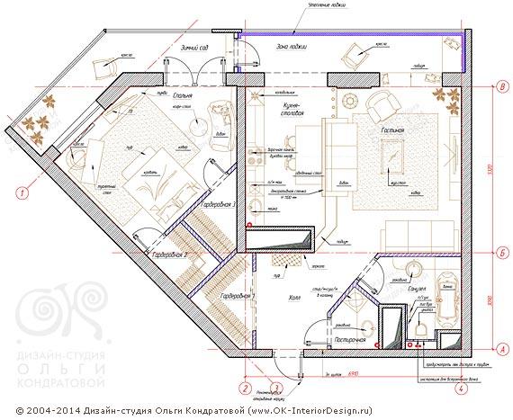 8-й вариант планировочного решения квартиры свободной планировки