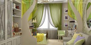 Дизайн зеленой детской комнаты для девочки