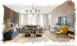 Дизайн гостиной в квартире в ЖК «Четыре Солнца»