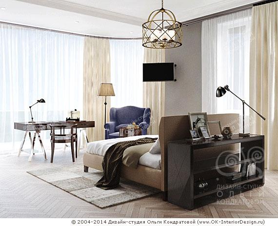 Дизайн спальни-кабинета