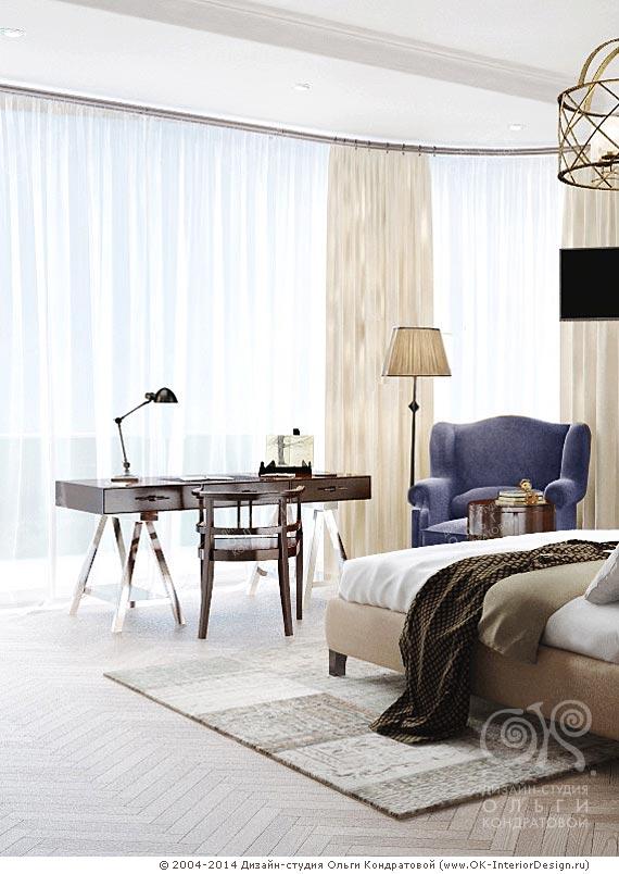 Дизайнкабинетной зоны спальни