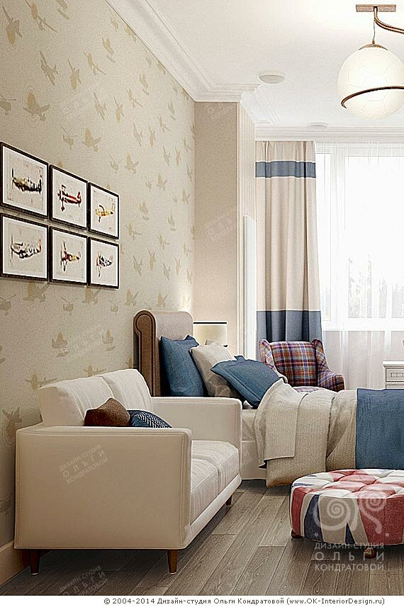 Декор диванной зоны и изголовья кровати