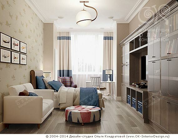 Дизайн жилой комнаты в однокомнатной квартире