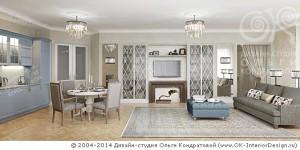 Дизайн квартиры-студии в серо-голубой гамме