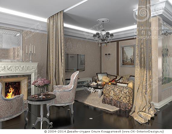 Дизайн гостиной с приватной зоной и камином