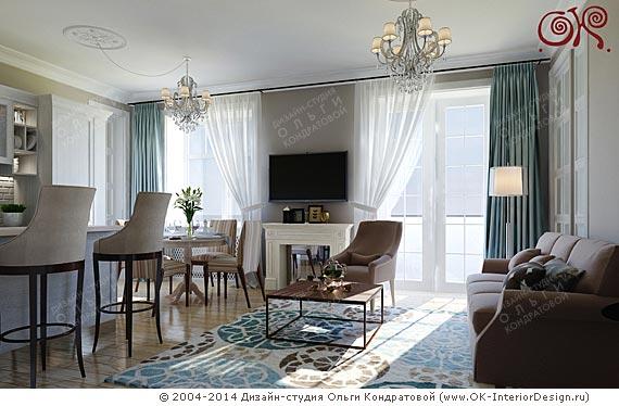 Дизайн французской гостиной в квартире