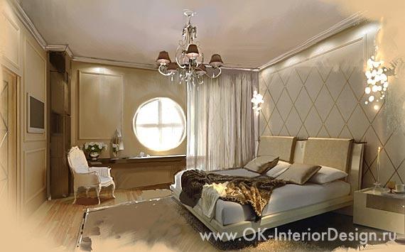 Винтажная спальня с круглым окном: современные идеи