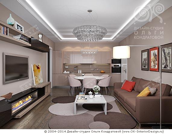 Вариант дизайна гостиной в духе оп-арта