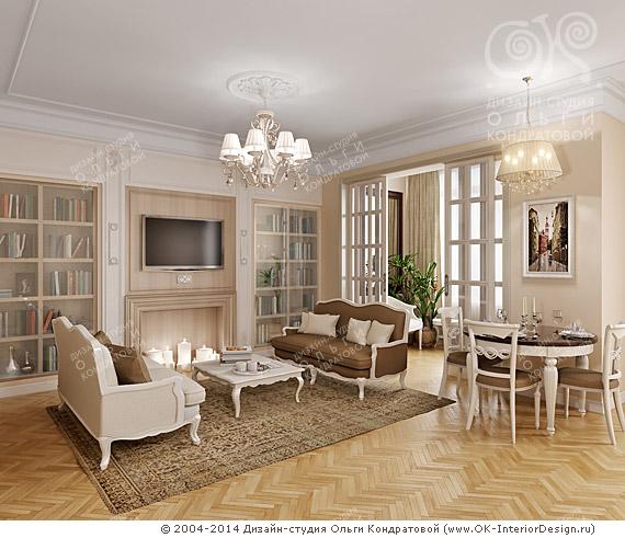 Второй вариант дизайна бежевой гостиной