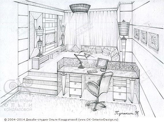 Рисунок интерьера детской комнаты для мальчика