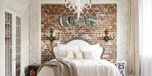 Контраст: Грубая кирпичная кладка и рафинированный декор спальни