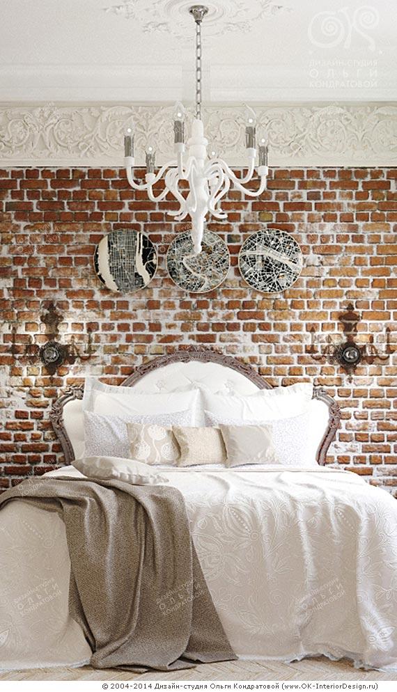 Кирпичная кладка и декор прикроватной зоны спальни