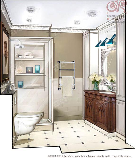 Дизайн интерьера ванной. Рисунок