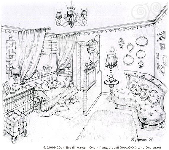 Эскиз детской комнаты для девочки