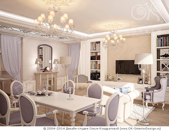 Фото интерьера сиреневой гостиной
