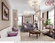 Дизайн артистической гостиной с радиальными окнами
