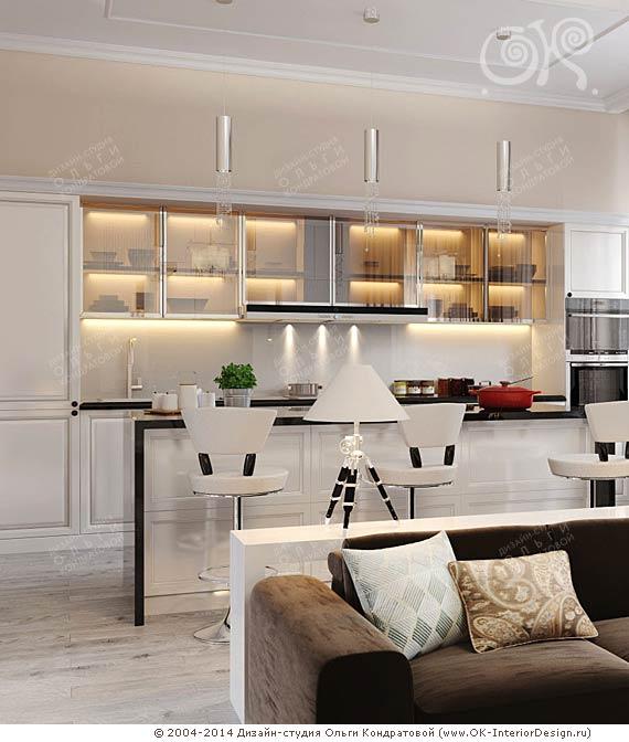 Интерьер светлой кухни гостиной в современном стиле - Apoi.ru