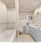 Светло бежевый и голуюой в интерьере ванной