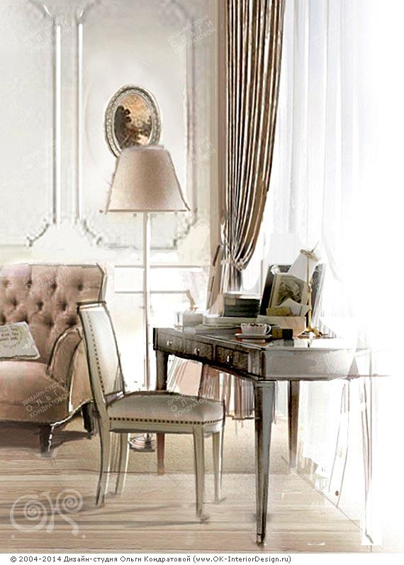 Кабинетный столик и торшер в спальне
